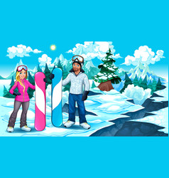 snowboarders boy and girl on the mountain vector image
