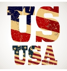 Vintage lettering US and USA flag vector image