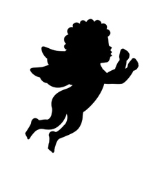 Angel silhouette character icon vector