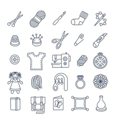 Handmade hobby activities flat thin line icons vector image