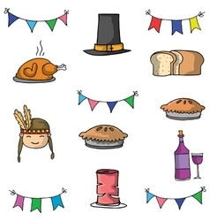 Doodle of thanksgiving food hat vector