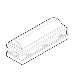 Coffin in linear style wooden casket for burial vector