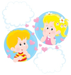 Girl and boy dreaming vector