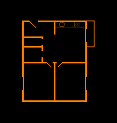 Apartment house floor plans orange icon on black vector