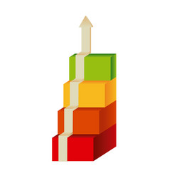 colored diagram cubes with arrow up vector image