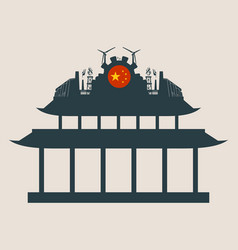 Energy and power icons on the pagoda roof vector