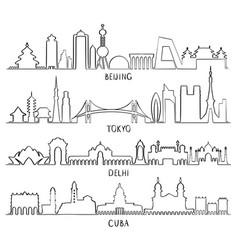 outline skyline beijing tokyo new delhi cuba vector image