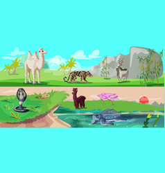 Colorful asian animals horizontal banners vector