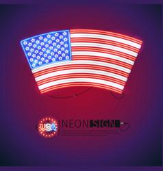 Neon sign arced usa flag vector