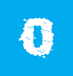 number 0 cloud font symbol white alphabet sign vector image