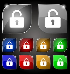 Open padlock icon sign set of ten colorful buttons vector