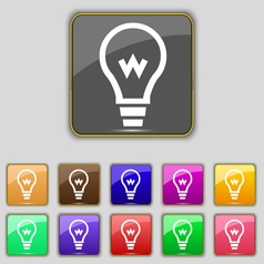 Light bulb icon sign set with eleven colored vector
