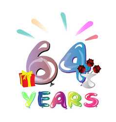64 years anniversary celebration greeting card vector