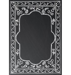 Chalk painted frame on black background vector image