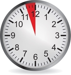 Clock with red 3 minute deadline vector image
