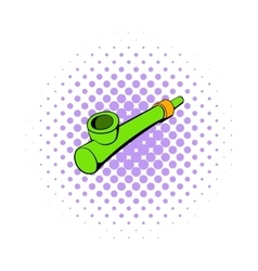 Wooden pipe for smoking icon comics style vector image