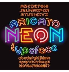 Arigato color neon typeface vector