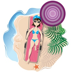 beach girl vector image vector image