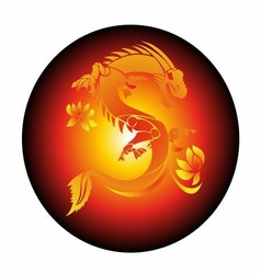 Circle Red Background With Yellow Dragon vector image