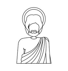 Contour half body figure human of saint joseph vector