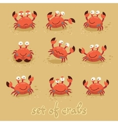 Cute crabs funny characters summer beach vector
