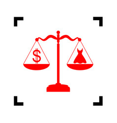Dress and dollar symbol on scales red vector