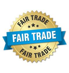 Fair trade 3d gold badge with blue ribbon vector