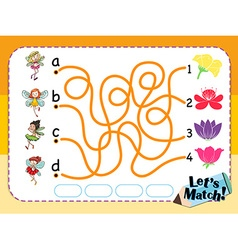 Game template for matching flower and fairies vector image