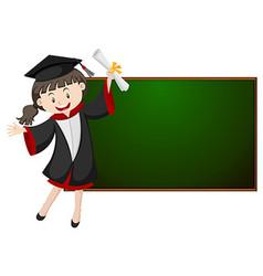Girl in graduation gown by the blackboard vector
