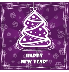 Greeting card happy new year spruce vector