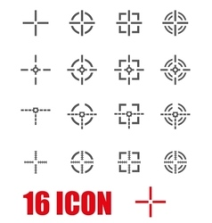 Grey crosshair icon set vector