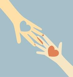 Hand giving love heart vector