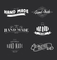 handmade label lettering set vector image