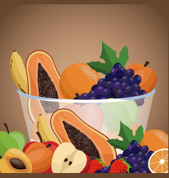 Harvest fruit bowl healthy vector