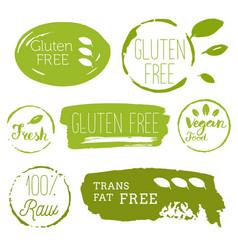 Healthy food icons labels organic tags natural vector