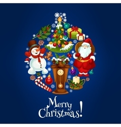 Merry christmas poster of ornament ball vector