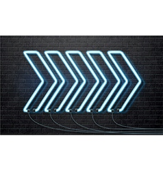 neon blue arrow isolated on black brick wall vector image