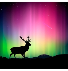 Northern lights with a deer in the foreground vector image vector image