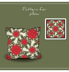 Pillow red flowers vector