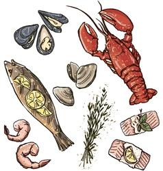 Seafood selection vector