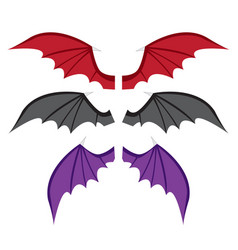 set bat wings in color in flat style vector image vector image