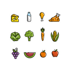 set nutrition vegetables and fruits with protein vector image vector image