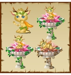 Set of three antique vases with gold elf figure vector image