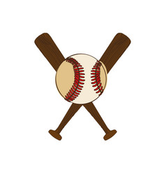 Silhouette color with baseball bats and ball vector