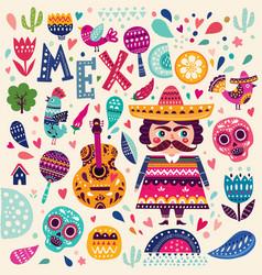 Symbols of mexico vector