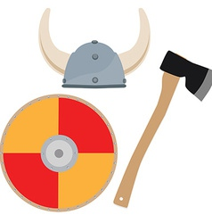 Viking hat shield and axe vector