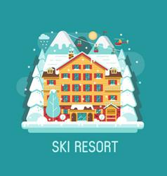 winter ski resort flat landscape vector image