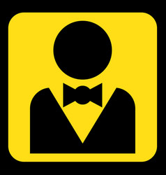 yellow black sign - figure with suit and bow tie vector image vector image