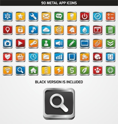 90 metal app icons vector