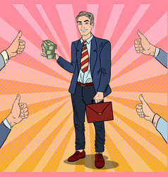 Pop art successful businessman with stack of money vector